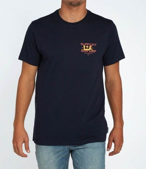 BILLABONG MENS T SHIRT.SUPPORT YOUR SURF SHOP NAVY TOP with BACKPRINT TEE 8S 35
